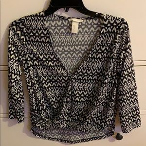 Black and white Aztec top